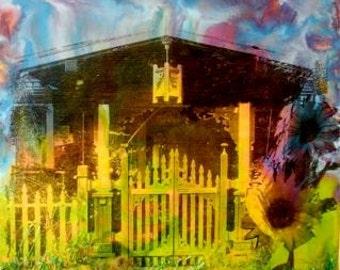 Original Encaustic Painting - Rainbow Spirit House