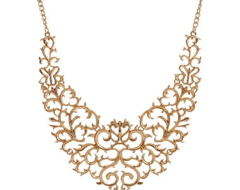 Gold Vintage Style Filigree Hollow Bib Statement Necklace Choker with Lobster Clasp Closure