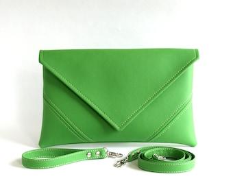 Bridesmaid Clutch Purse Womens Gift For Her Green Wedding Clutch Bag Bridal Clutch Handbag Vegan Leather Handbag Vegan Bag Green Clutch