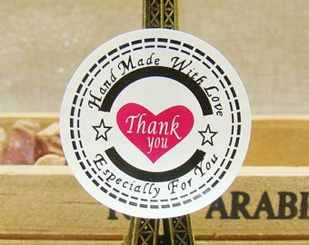 Handmade white stickers with Red Heart Thank You Stickers. 48 Quality Stickers. Thank you self adhesive stickers. Baked good stickers