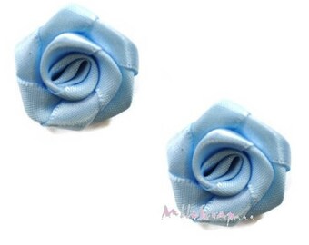 Set of 5 roses blue fabric embellishment scrapbooking card making *.
