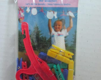Heless from Germany Plastic Colorful Clothespins and Hanger