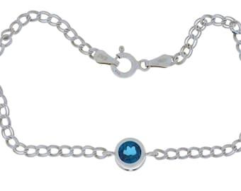 1 Ct London Blue Topaz Round Bezel Bracelet .925 Sterling Silver White Gold Quality