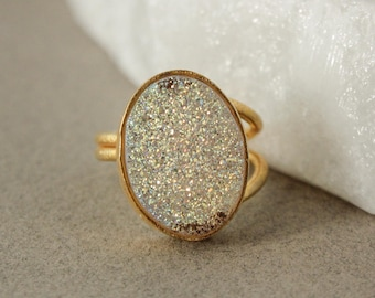 Gold Titanium Coated Oval Druzy Ring - Adjustable Ring - Last Ones Left