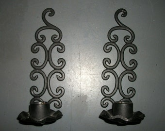 Pair of Black Iron Ornate Candle Sconces
