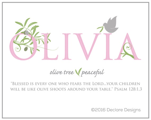 OLIVIA Name Art Canvas-Grey with Name Meaning and Scripture Verse, 16x20 - wall art baby name meaning