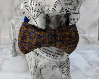 Gold & Lilac Houndstooth Tweed Dog Bow Tie