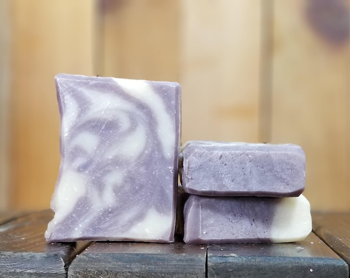 "Lavender Essential Oil Soap ""Purple Reign"" -- All Natural, Handmade, Barely Scented, Hot Process , Vegetarian, Lavender Soap, Free Shipping"