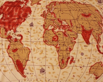 World map fabric etsy vintage world map patterned cotton linen 18 x 55 fabric made in korea by gumiabroncs Image collections