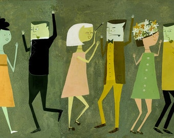 Dancing.  Limited edition print by Matte Stephens.