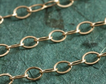 Wholesale Gold Filled Chain  - Flat Oval Cable Chain 3.5mm x 2.5mm - SAVE 15 - 25% on wholesale lengths