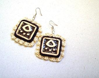 Crochet Tribal Earrings, Square Earrings Ceramic Plates