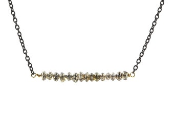 Champagne Rustic Diamond Bead Bar Necklace on Oxidized Sterling Silver Chain 2 cm Length