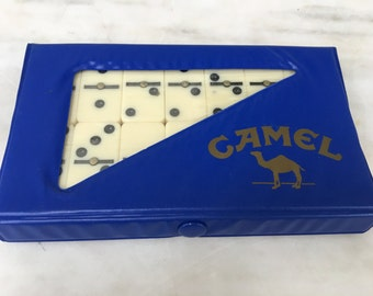 vintage Joe Camel memorabilia, cigarette memorabilia, dominoes game, UNOPENED, made in Taiwan, 1989, retro dominos game
