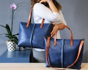 Leather tote bag ,handmade leather bag ,tote bag ,large leather bag,blue leather bag,borsa di cuoio,