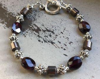 Garnet and hematite bracelet