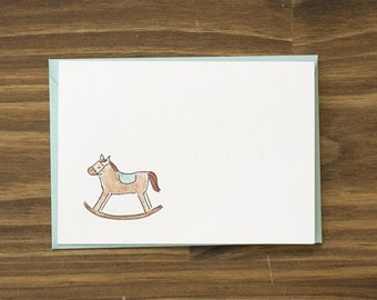 SALE rocking horse baby card