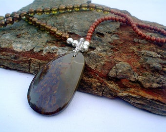 Fusion Necklace in glass and stone- Custom order -OOAK