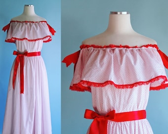 1960s 1970s White and Red Polka Dot Sweetheart Dress // 60s 70s Off the Shoulder Maxi Dress with Red Lace Trim and Ruffles