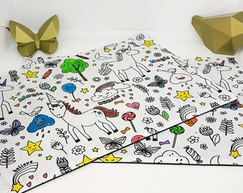 Set of 2 coloring washable child zero waste pattern choice. Size 23 cm by 35 cm placemat