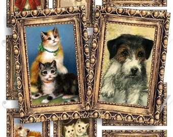 Vintage cats and dogs images for cards, ACEO, ATC, scrapbook and more Digital Collage Sheet 3 X 2 inch No.653