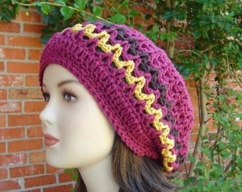 Dark Raspberry Hippie Tam Dreadllock Rasta Tam Hat Slouchy Beanie Handmade in Crochet