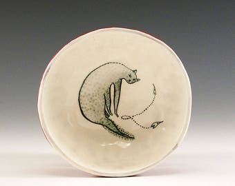 Slinky Kitty - Original Painting by Jenny Mendes in a Hand Pinched Ceramic Finger Bowl