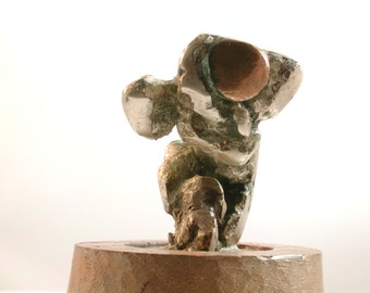 Sculpture Small Human Metal Sculpture - Mixed Metal - Male, Abstract, Pose, Wood, unknown Artist, Handmade, One of a kind, Collectible,