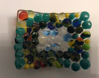 Fused glass trinket dish/ candle holder, soap dish