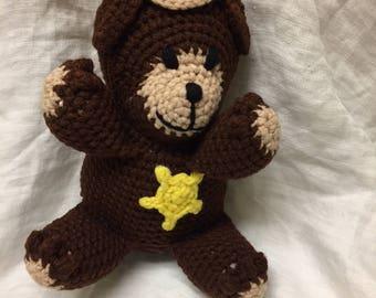 crochet stuffed sheriff bear