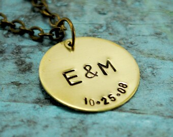 Brass Initial and Date Necklace