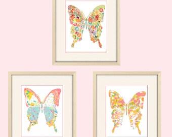 Baby girl nursery decor butterfly art butterfly nursery art butterfly nursery print baby nursery abstract nursery art kids baby shower gift