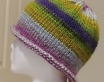 Slouchy Multi-color Knit Hat