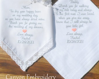 Embroidered Wedding Handkerchiefs, Mom and Dad, Wedding Gift Wedding Handkerchief Gifts, Embroidered Heart Set of two By Canyon Embroidery