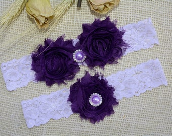 Purple Garter, Wedding Garter Set, Lace White Garter, Lace Garter Set, Bridal Garter, Garter Dark Purple, Bridal Gift, Bridal Lace Garter