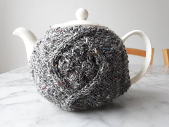 Knit teacosy: handknit teacozy in Irish wool. Original design. Made in Ireland. Irish gray tweed wool. Housewarming gift. Mother's day gift.