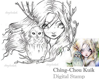 New Leaves - Digital Stamp Instant Download / Bird Owl Life Dryad Fairy Fantasy Art by Ching-Chou Kuik