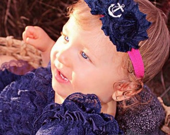 Hot Pink & Navy Blue Anchor Headband with Shabby Chiffon Flowers -  Nautical - Newborn Infant Baby Toddler Girls Adult