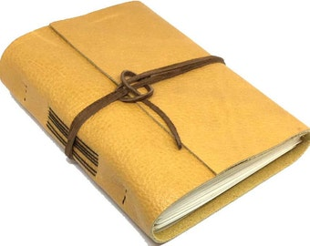 Leather Journal with Blank Paper, Handmade Golden Yellow Notebook, Travel Diary, Graduation Gift,