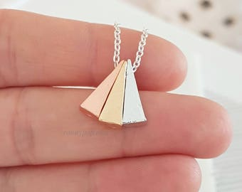 Triangle Necklace - 3 Gold Necklace - Dainty Chain - Triangle Jewelry - Silver - Gold - Minimalist Jewelry - Mother Gift - Mother's Day