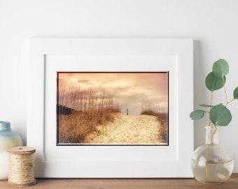Folly Beach Lighthouse-Morris Island Lighthouse-Coastal Decor-Beach Photography-Dreamy Wall Art-Sunset Photography-Pink Wall Decor-24x36