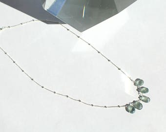 Simple Elegant Moss Aquamarine Teardrop Sterling Silver Necklace