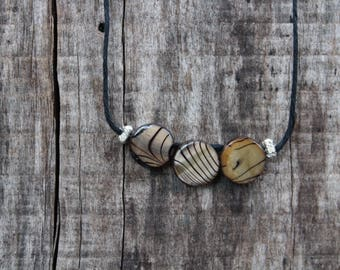 """Women's Pendant Necklace -  Tiger Striped Beads - 18"""" Adjustable"""