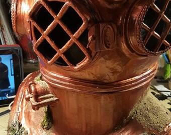 Deep sea diver helmet, steampunk aquanaut, vintage nautical helmet for underwater adventure, explorer