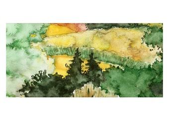 Summer Fields Original Watercolor Painting