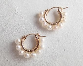 Freshwater pearl petit hoop earrings K14gf