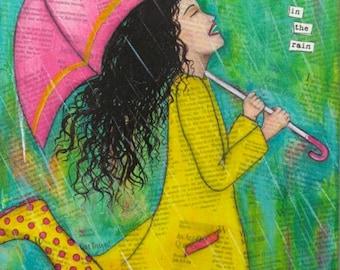 Dance in the Rain, Mixed Media - Print on wood