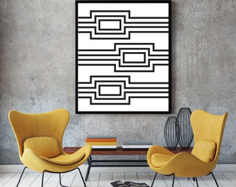 Stripes, modern art, black white, abstract geometric, art poster, minimalist print, wall decor, art print, room decor, large wall, fine art