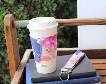 Reusable Fabric Coffee Cup Sleeve, Coffee Cup Cozy, Coffee Cup Sleeve, Fabric Cup Sleeve, Gift Idea, Coffee Gift, Teacher Gift Ready To Ship