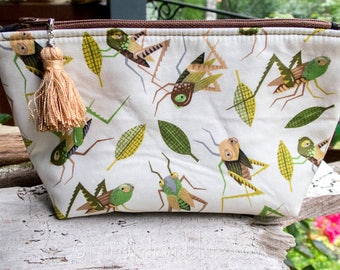 Cicada and Grasshoppers Lined Bag | Cute Grasshopper Fabric | Grasshopper Fabric Makeup Bag | Small Gift Under 20 | Camera Accessory Bag